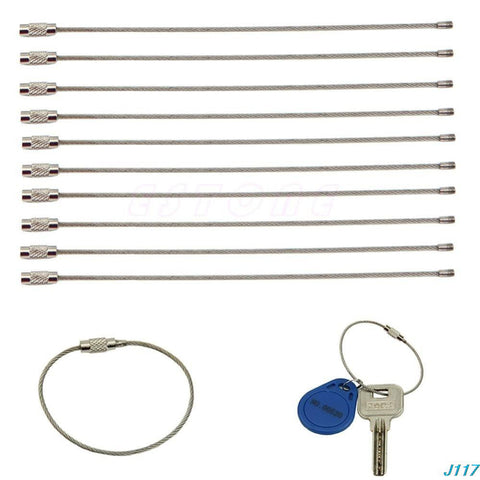 3pcs 15cm EDC gear Stainless steel wire keychain ring key metal circle rope cable outdoor camp accesory