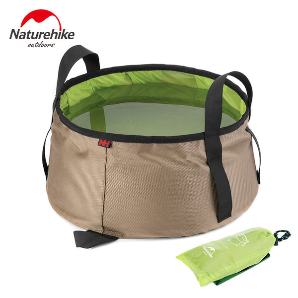 NatureHike 10L Portable Outdoor Sports Travel Folding Water Bucket Washbowl Fishing Bucket Travel Kits Camping Hiking Green Blue