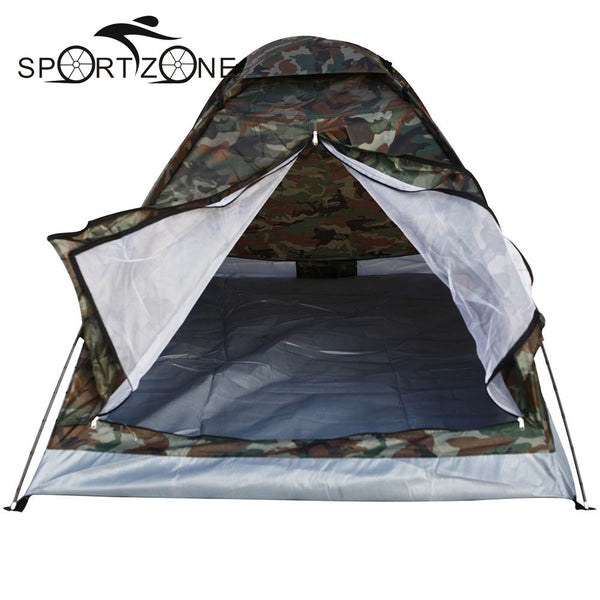 Outdoor PU1000mm Rainfly Camping Tent for 2 Person Single Layer Portable Polyester Beach Tents Camouflage