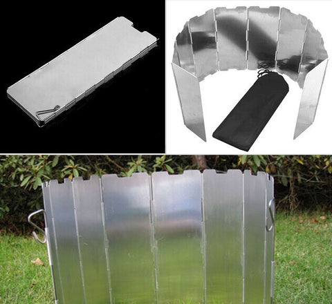Good deal 10 plates Fold Camping Cooker Gas Stove Wind Shield Screen Foldable Outdoor