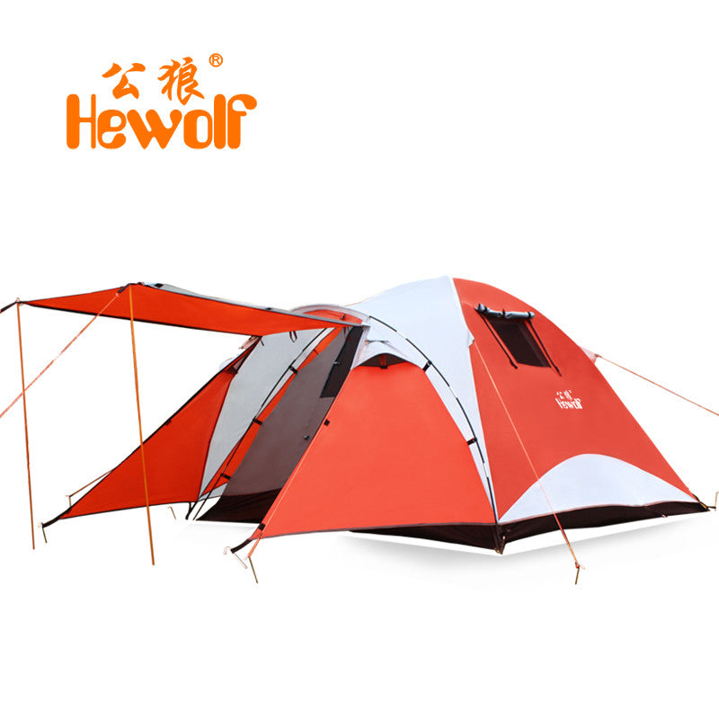 Hewolf double layer waterproof camping tent 4 persons large travel family bivvy tourist tente 2 room barraca tenda canopy awning