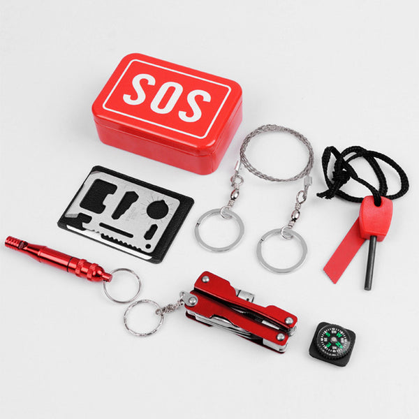 1 set Self Help SOS Tools Outdoor Sport Camping Tent Hiking Fishing Bike Survival Emergency Gear Box Kit Multifunction Equipment