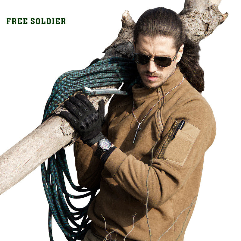 FREE SOLDIER tactical outdoor fleece clothing male thermal plush pullover outerwear winter thermal basic