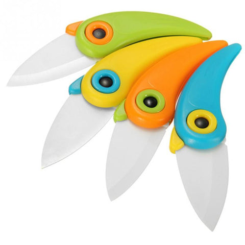 1PC Outdoor Camping Bird Shaped Folding Ceramic Knife Fruit Vegetable Cutting Paring Mini Knives Picnic Accessories Random Color