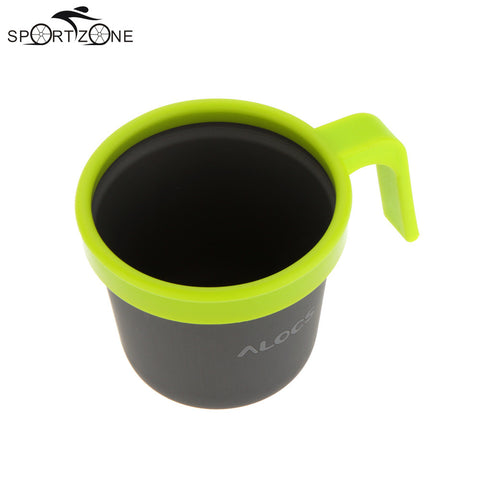 ALOCS 280ml Top Grade Beer Drinking Coffee Cups Aluminum Mugs Tea Water Cup Camping Travel Kits with Handle Ultralight