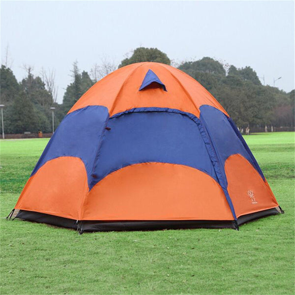 5-8 Person Large Camping Tent Double Layer Sun Shade UV Beach Tent Tourists carpas camping tente Big Outdoor Hexagon Family Tent