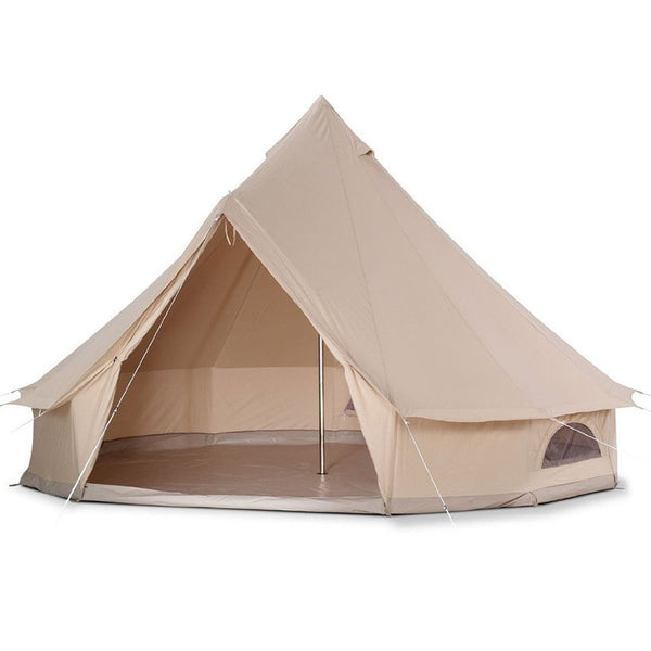 D&R  3 Meter Canvas Bell Tent Outdoor All Season Sun Shade Travel Camping Tipi Waterproof Family Camping 3M  10 Feet Diameter