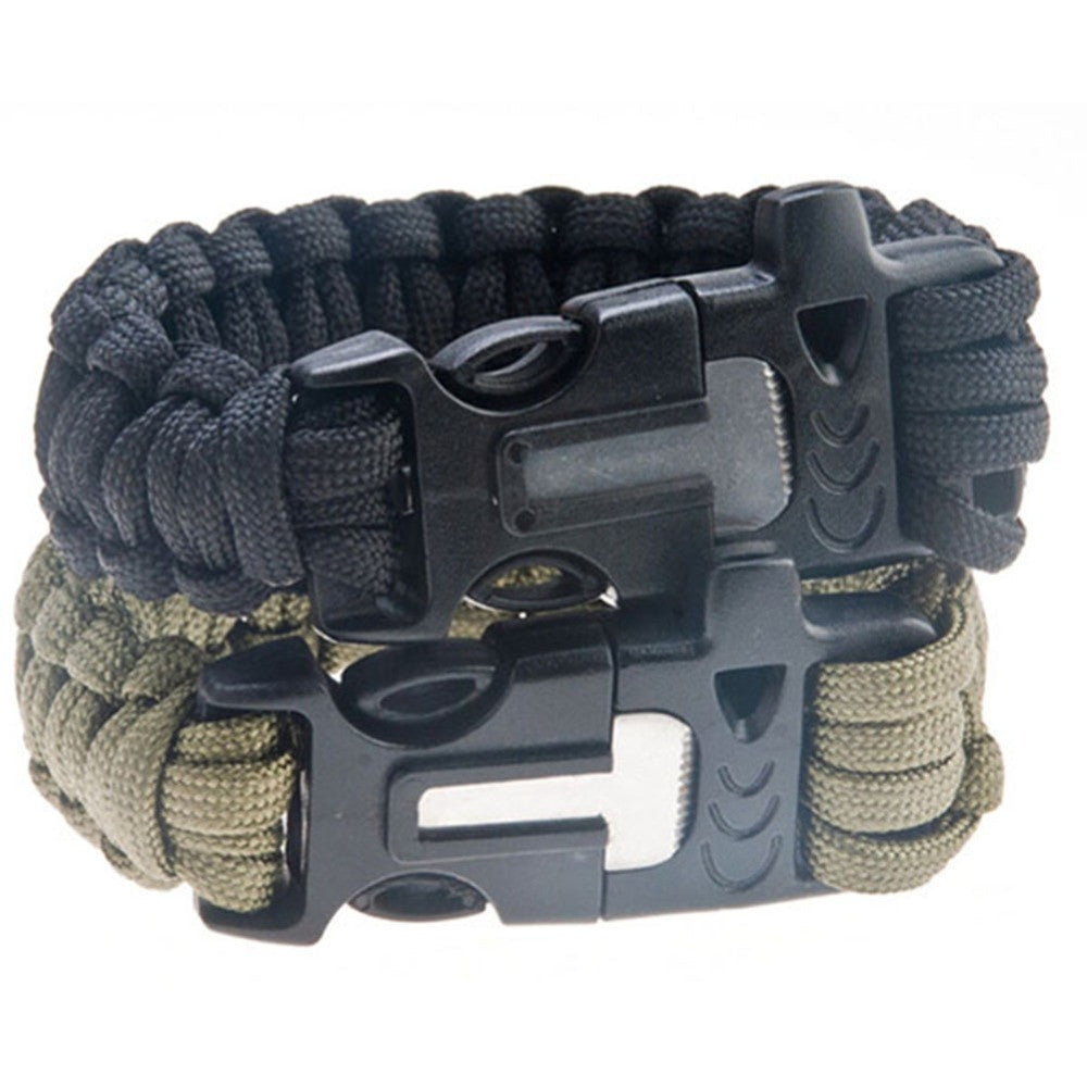4 in 1 Flint Fire Starter Whistle,Outdoor Camping Survival Equipment, Paracord Bracelet
