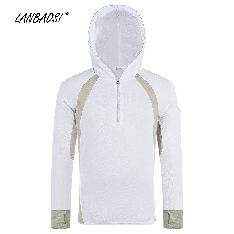 LANBAOSI Men's Fishing Angling Clothes Outdoor Sports Quick Dry Anti-UV Sunscreen Protective Windproof Hoodies Jacket Clothing