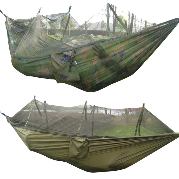 Portable Tactical 300kg Maximum load Travel Camping Outdoor Waterproof Fabric Hammock Hanging Nylon Bed + Mosquito Net KSKS