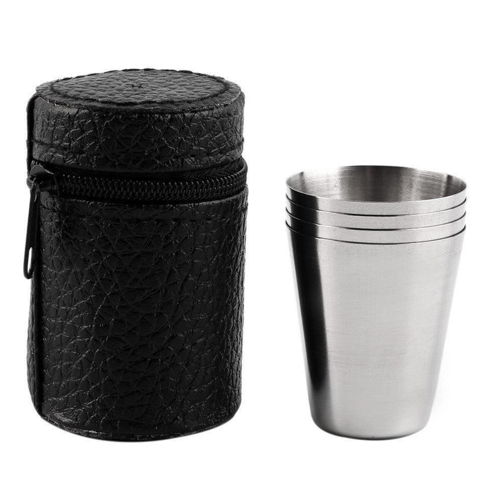 1 Set of 4 Stainless Steel Camping Cup