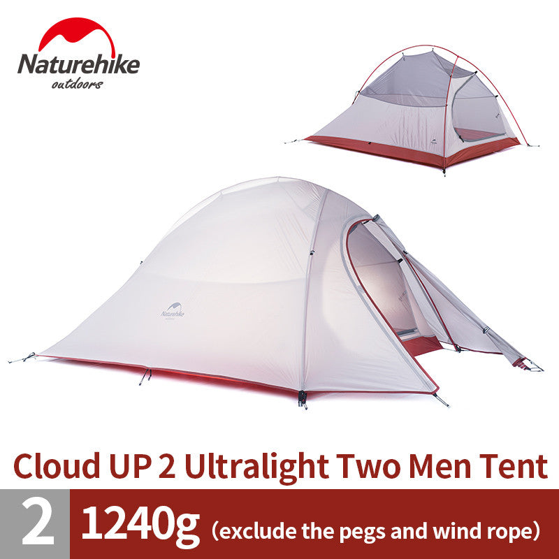 NatureHike 2 Person With Footprint Tent  20D Silicone or 210T Plaid Fabric Tent Double-layer Camping Tent NH15T002-T