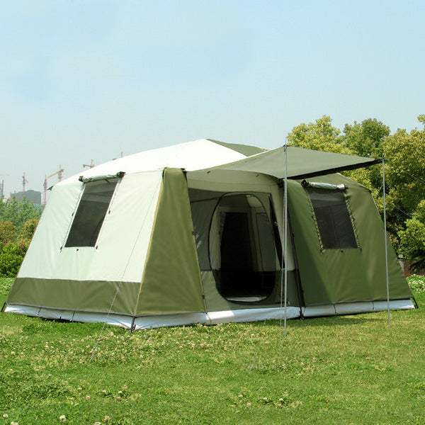 2016 stock new color Big tent outdoor camping 10-12people high quality luxury family/party 2room 1hall outdoor camping tent