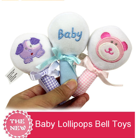 Bear Dog Baby Lollipops Bell Hand Grasp Plush Toys