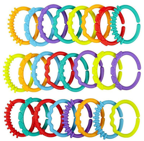 24pcs Baby Teether/Rattle Colorful Rainbow Rings