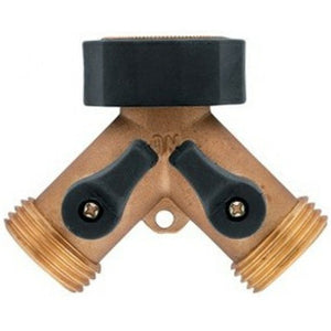 "Brass garden tap 2 way Adaptor 3/4"" (20mm)"