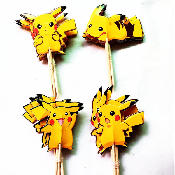 24PCS  Yellow Pokemon Cupcake Topper Picks Birthday Party Decorations