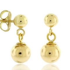 14K Solid Gold Ball Stud Earrings Dangling Ball $69.01 - God Degree Clothing And Accessories™® - GD's™®