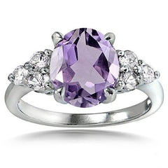 Amethyst and White Topaz Oval Ring $29.01 - God Degree Clothing And Accessories™® - GD's™®