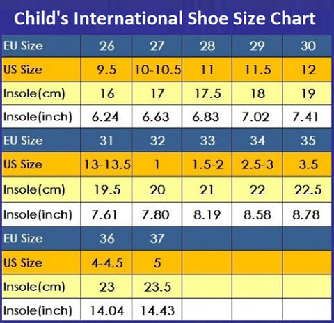 Childs international shoe size chart