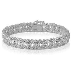 Diamond Accent Leaf Tennis Bracelet $199.01- God Degree Clothing And Accessories™® - GD's™®