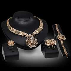 Fashion Jewelry Glaring Hollow Out Floral Necklace, Bracelet, Ring, and Earrings Sets $39.01 - God Degree Clothing And Accessories™® - GD's™®