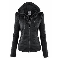 Hooded Leather Jackets black $49.01 - God Degree Clothing & Accessories - GD's