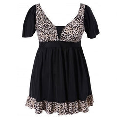Leopard Print Ruffled Swimwear Apricot (Plus Sizes) $39.01 - God Degree Clothing And Accessories™® - GD's™®