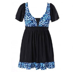 Leopard Print Ruffled Swimwear Ocean Blue (Plus Sizes) $39.01 - God Degree Clothing And Accessories™® - GD's™®
