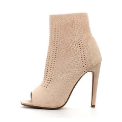 Peep Toe Stiletto Booties - MORA Nude - Kwikibuy™®