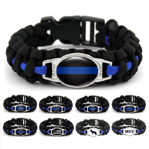 Thin Blue Line Cobra Weave Para-cord Bracelets  - Kwikibuy Amazon Global