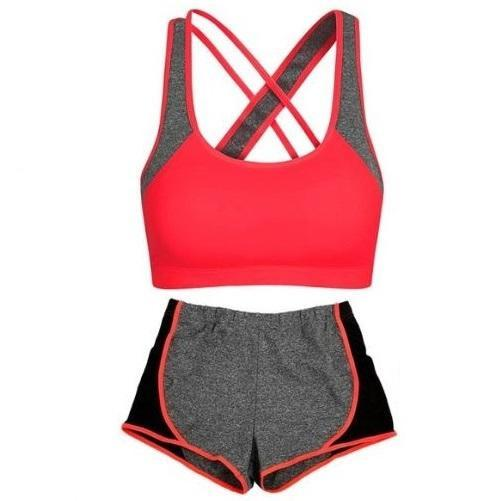 Criss-Cross Crop Top and Leggings' Set (Red)