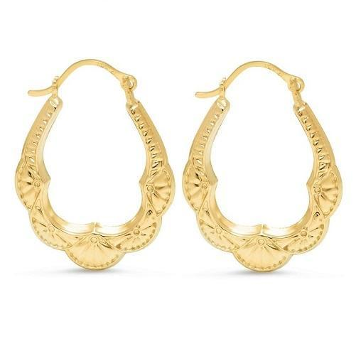 Solid Yellow Gold Bib Hoop Earrings - Kwikibuy.com Official Site©