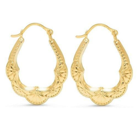 Solid Yellow Gold Bib Hoop Earrings (Pair) - Kwikibuy Amazon