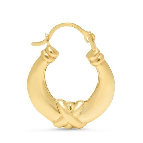Solid Yellow Gold Kiss Hoop Earrings (Pair) - Kwikibuy Amazon