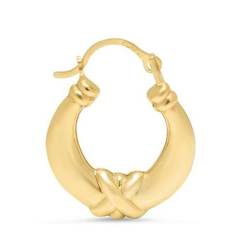 Solid Yellow Gold Kiss Hoop Earrings - Kwikibuy.com Official Site©