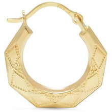 Load image into Gallery viewer, 🍀 Solid Yellow Gold Pentagon Hoop Earrings  - Kwikibuy Amazon Global