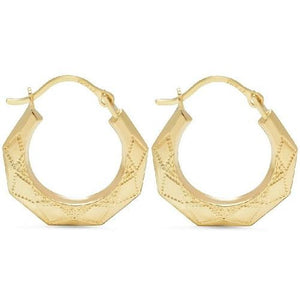 Solid Yellow Gold Pentagon Hoop Earrings  - Kwikibuy Amazon Global