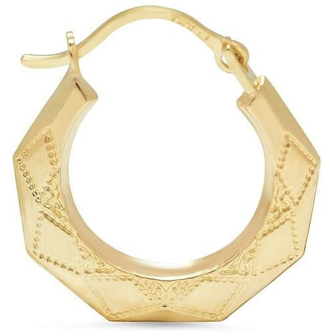 Solid Yellow Gold Pentagon Hoop Earrings - Kwikibuy.com Official Site©