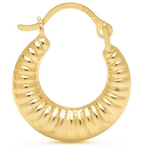Solid Yellow Gold Round Ribbed Hoop Earrings - Kwikibuy.com Official Site©