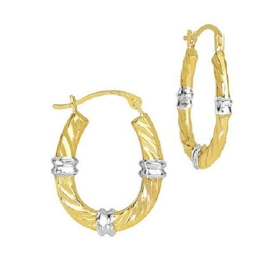 Solid Yellow Gold Shiny Wave Hoop Earrings  - Kwikibuy Amazon Global