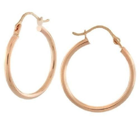 14k Solid Rose Gold High Polish Hoops - Kwikibuy.com™® Official Site