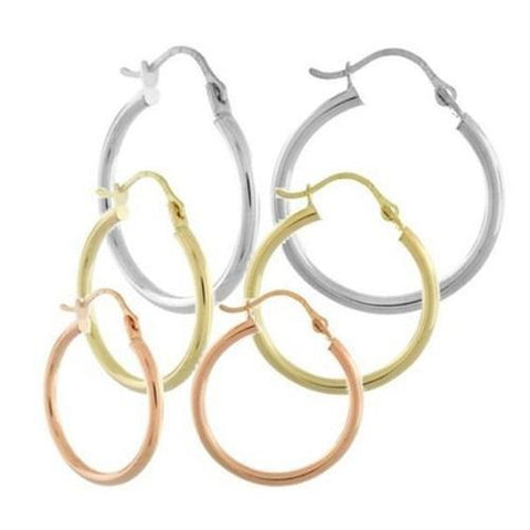 Shop-Now-14k-Solid-Rose-Yellow-White-Gold-High-Polish-Hoops-Kwikibuy.com