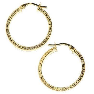 🍀 14K Solid Gold Greek Key Hoop Earrings  - Kwikibuy Amazon Global