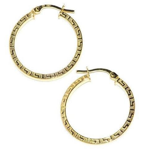 14K Solid Gold Greek Key Hoop Earrings - Kwikibuy.com™® Official Site