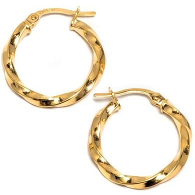 🍀 14K Solid Gold Twisted Hoop Earrings  - Kwikibuy Amazon Global