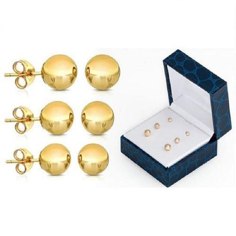 14K Solid Yellow Gold Ball Stud Earrings (3 Pairs Set) - Kwikibuy.com™® Official Site