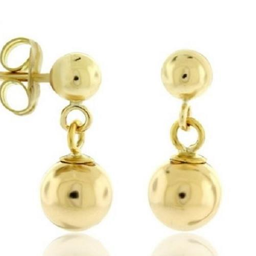 14k Solid Gold Ball Stud Earrings Dangling Ball  - Kwikibuy Amazon Global