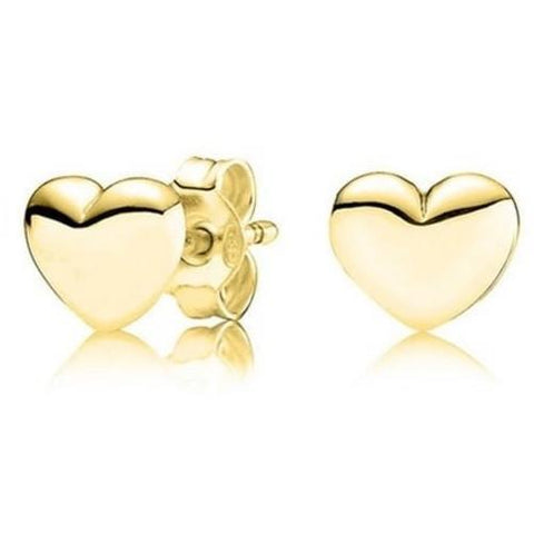 14K Solid Yellow Gold Heart Stud Earrings $39.01 - God Degree Clothing And Accessories™® - GD's™®