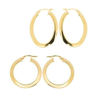🍀 14K Solid Gold High Polished Flat Hoop Earrings  - Kwikibuy Amazon Global